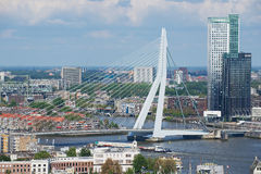 Aerial view to Erasmus bridge and the city of Rotterdam, Netherlands. Stock Photos