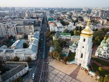 Aerial view to famous St. Sophia Cathedral in Kiev at sunny morning. Ukraine stock photography