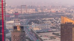 Aerial view to financial and zabeel district timelapse with traffic and under construction building with cranes from. Aerial view to financial and zabeel stock video footage