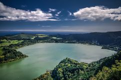 Aerial view to Furnas lake, Sao Migel, Azores, Portugal royalty free stock photography