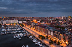 Aerial view to the harbor of Antwerp from the roof Royalty Free Stock Images