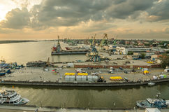 Aerial view to harbor of Klaipeda (Lithuania) Royalty Free Stock Image