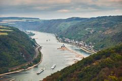 Aerial view to hills of Rheinland-Pfalz land and Hesse land with river Rhine and Kaub town from tourist route. Aerial view on the river Raine from an observation royalty free stock photography