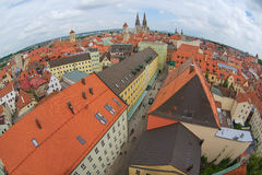 Aerial view to the historical buildings of Regensburg, Germany. Stock Photos