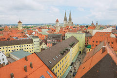 Aerial view to the historical buildings of Regensburg, Germany. Stock Photography