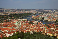 Aerial view to the historical center of Prague, Czech republic Stock Photo