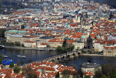 Aerial view to the historical center of Prague, Czech republic Stock Photos