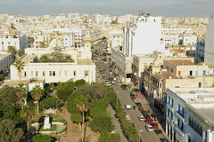 Aerial view to the historical city center of Sfax in Sfax, Tunisia. Royalty Free Stock Photography