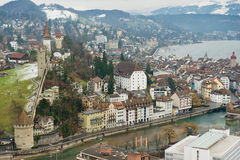 Aerial view to the historical part of the Lucerne city, Switzerland. Royalty Free Stock Image
