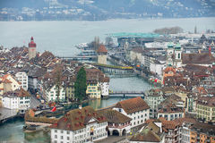 Aerial view to the historical part of the Lucerne city, Switzerland. Stock Photos