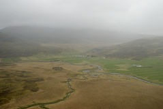 Aerial view to Iceland landscape. Aerial view from helicopter to Iceland landscape Stock Photo