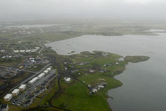 Aerial view to Iceland seacoast. Aerial view from helicopter to Iceland landscape Stock Photo