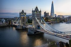 Aerial view to the iconic Tower Bridge in London, UK royalty free stock image