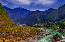 Aerial view to Indus river and valley, Pakistan. Aerial view to Indus river and valley, Karakoram, Pakistan Royalty Free Stock Photography