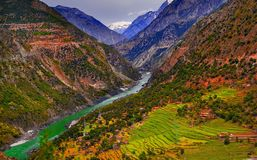 Aerial view to Indus river and valley, Pakistan. Aerial view to Indus river and valley, Karakoram, Pakistan Stock Image
