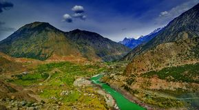 Aerial view to Indus river and valley, Pakistan. Aerial view to Indus river and valley, Karakoram, Pakistan Royalty Free Stock Image