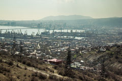 Aerial view to industrial city Novorossiysk Stock Photography