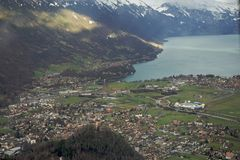 Aerial view to Interlaken, Switzerland Royalty Free Stock Images