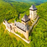 Aerial view to The Karlstejn castle. Royalty Free Stock Photos