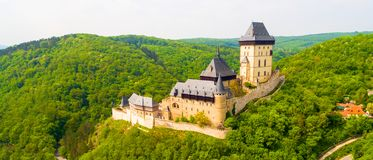Aerial view to The Karlstejn castle. Stock Image