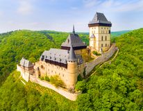 Aerial view to The Karlstejn castle. Stock Photography