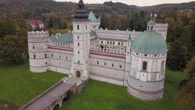 Aerial view to Krasicki Palace in Krasiczyn, Poland