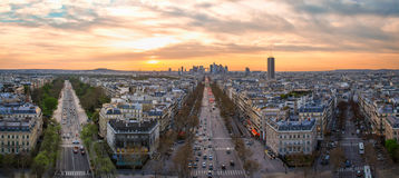 Aerial view to la Defense area at sunset Stock Image