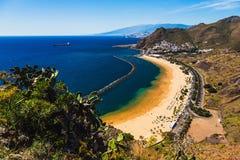 Aerial view to Las Teresitas Beach. Spain, Tenerife Stock Photography