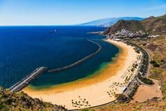 Aerial view to Las Teresitas Beach. Tenerife, Spain Stock Image