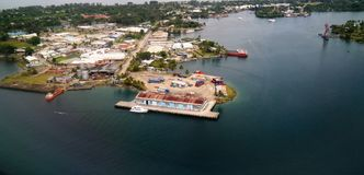 Aerial view to Madang bay and city, Papua New Guinea stock photography