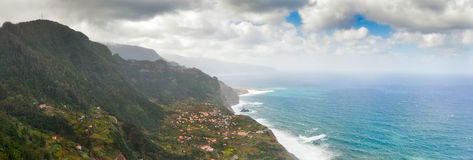 Aerial view to Madeira, Portugal. Aerial view to town at north coast of Madeira, Portugal Stock Image