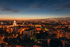 Aerial view to modern houses and business centers at Voronezh city downtown Royalty Free Stock Image