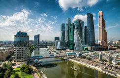Aerial view to Moscow-city stock images