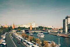 Aerial view to Moscow Kremlin stock image