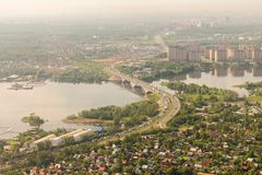 Aerial view to Moscow Region in summer. Aerial view to the Moscow Region in summer Stock Image