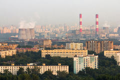 Aerial view to Moscow skyline Royalty Free Stock Images