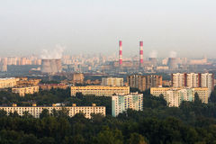 Aerial view to Moscow skyline Royalty Free Stock Photos