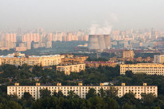 Aerial view to Moscow skyline Stock Photography