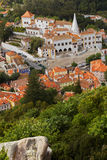 Aerial view to National Palace of Sintra, Portugal Stock Images