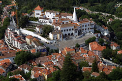 Aerial view to National Palace of Sintra, Portugal Royalty Free Stock Photography