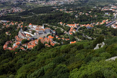 Aerial view to National Palace of Sintra, Portugal Royalty Free Stock Photo