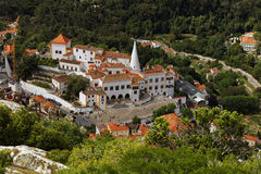 Aerial view to National Palace of Sintra, Portugal Royalty Free Stock Image