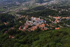 Aerial view to National Palace of Sintra, Portugal Royalty Free Stock Photos