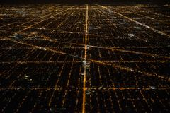 Aerial view to night city Chicago streets.  Stock Images