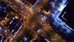 Aerial view to night city crossroads stock footage