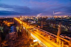 Aerial view to night Voronezh in late fall, view to Voronezh Mechanical Plant industrial area Royalty Free Stock Image