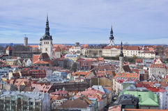 Aerial view to Niguliste church and Toompea upper city of Tall Royalty Free Stock Photos
