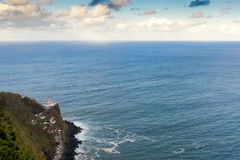 Aerial view to Nordeste lighthouse. At Atlantic ocean, San Miguel, Azores, Portugal Stock Photo