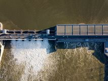 Aerial view to the Novosibirsk hydroelectric power station. On a sunny summer windless day Stock Photo