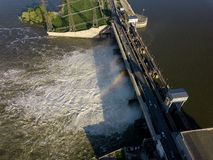 Aerial view to the Novosibirsk hydroelectric power station. On a sunny summer windless day with rainbow Royalty Free Stock Images
